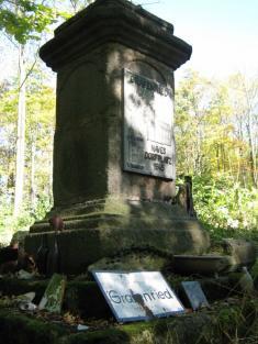 Podstavec nanávsi vLučině, nakterém kdysi stávala socha sv.Jana Nepomuckého.